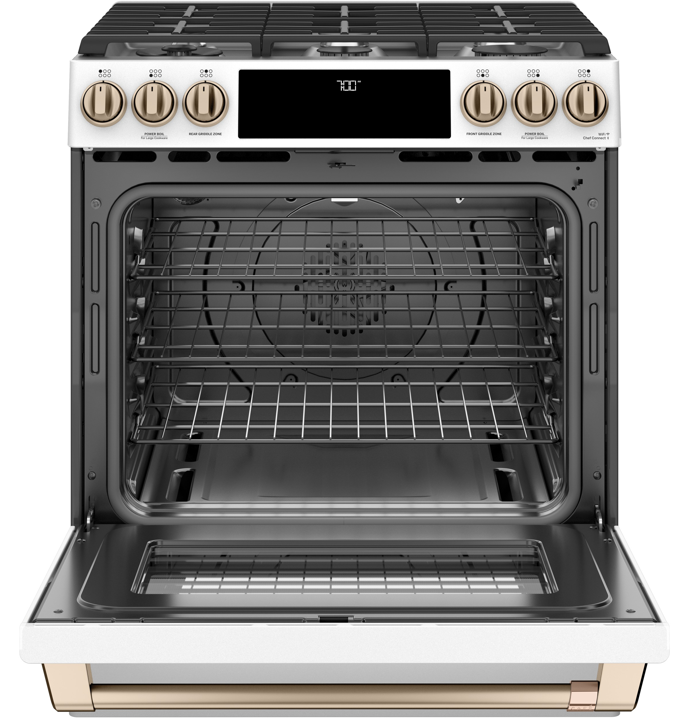 "Model: CGS700P4MW2 | Cafe Café™ 30"" Smart Slide-In, Front-Control, Gas Range with Convection Oven"