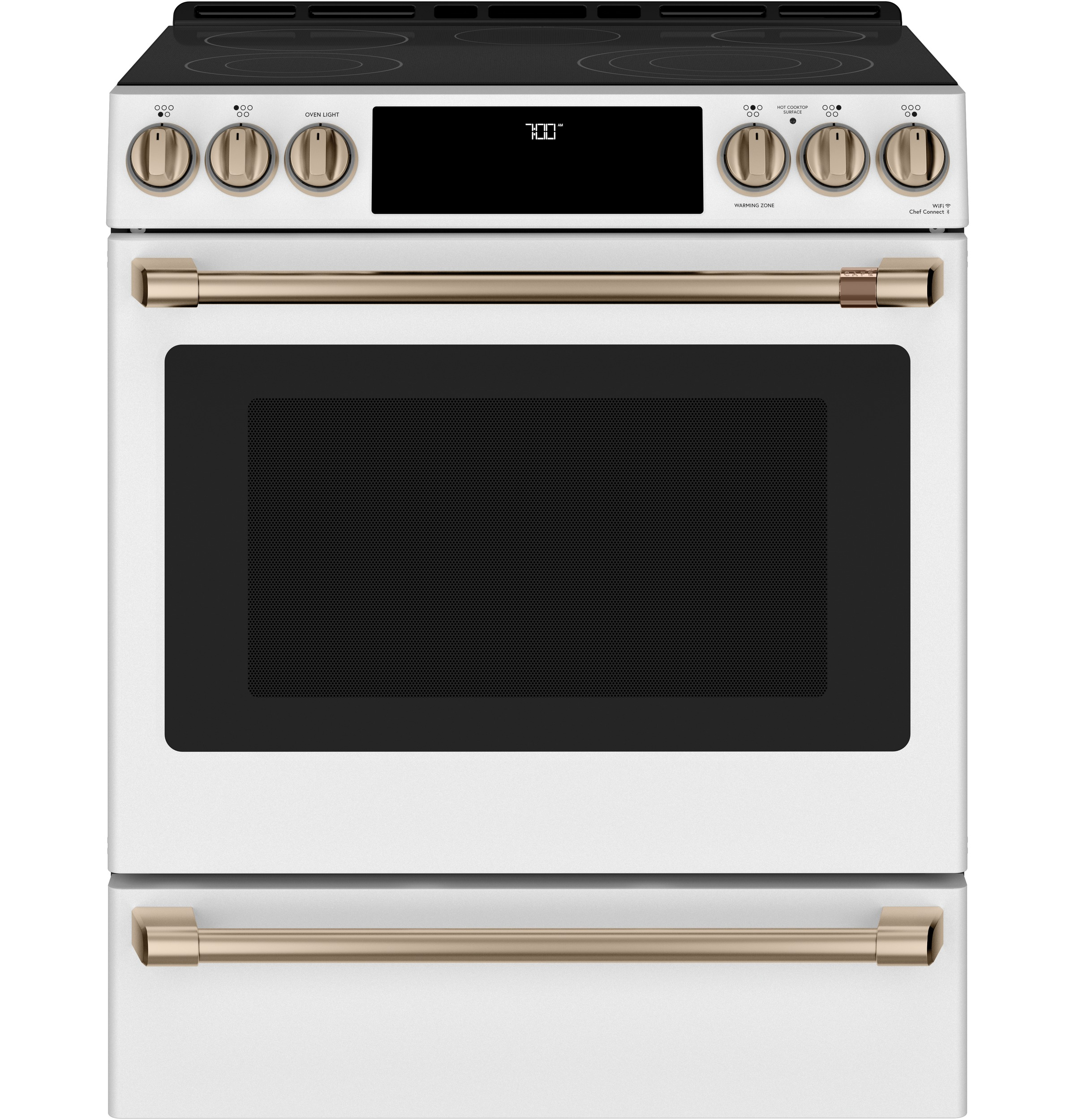 "Cafe Café™ 30"" Smart Slide-In, Front-Control, Radiant and Convection Range"