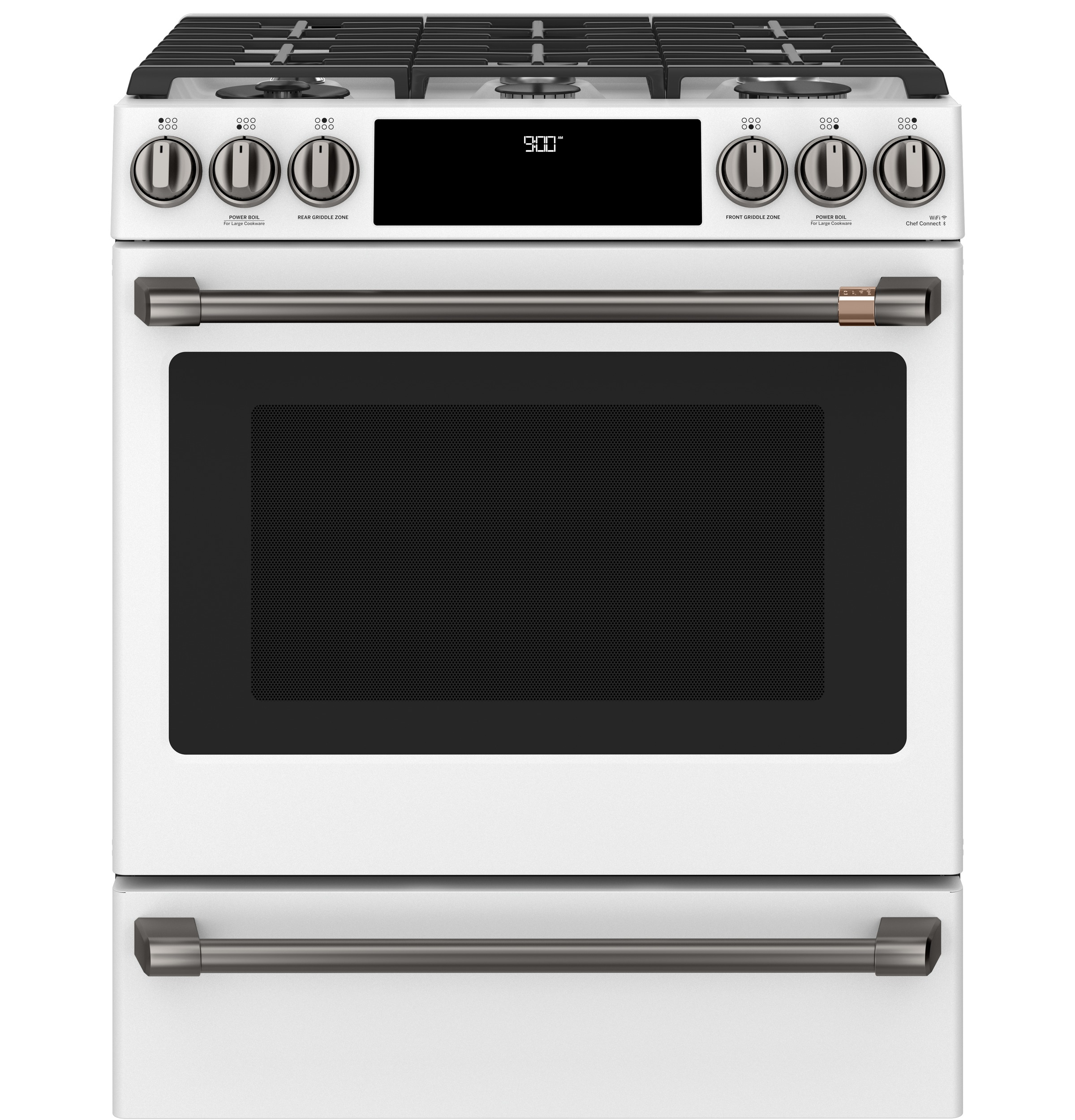 "Model: C2S900P4MW2 | Cafe Café™ 30"" Smart Slide-In, Front-Control, Dual-Fuel Range with Warming Drawer"