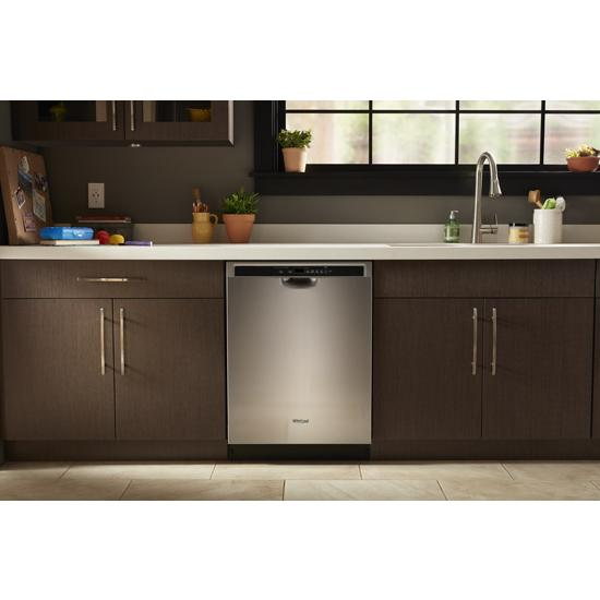 Model: WDF560SAFM | Whirlpool Stainless steel dishwasher with 1-Hour Wash cycle