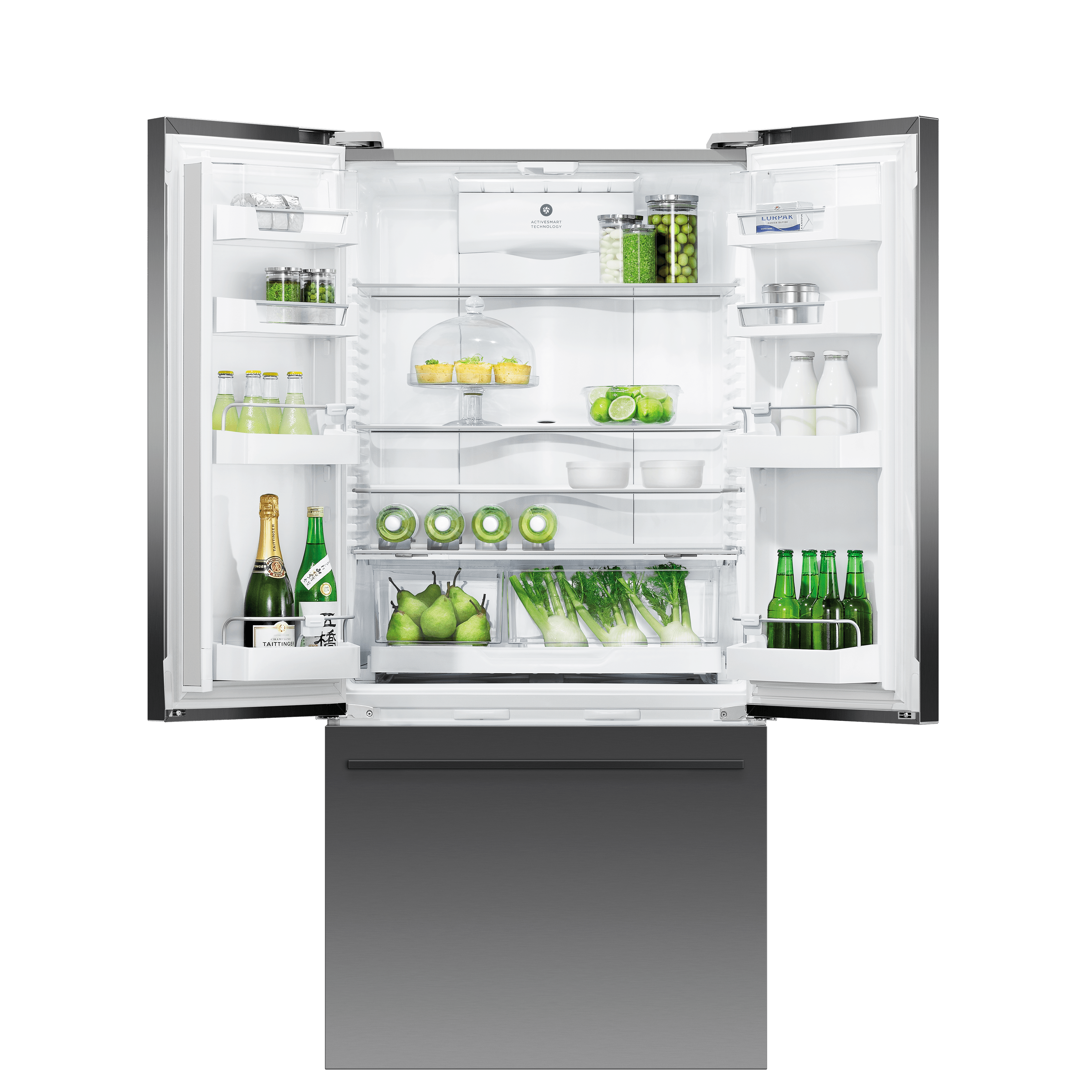 Model: RF170ADUSB5 | Black Stainless Steel French Door Refrigerator, 17 cu ft, Ice & Water