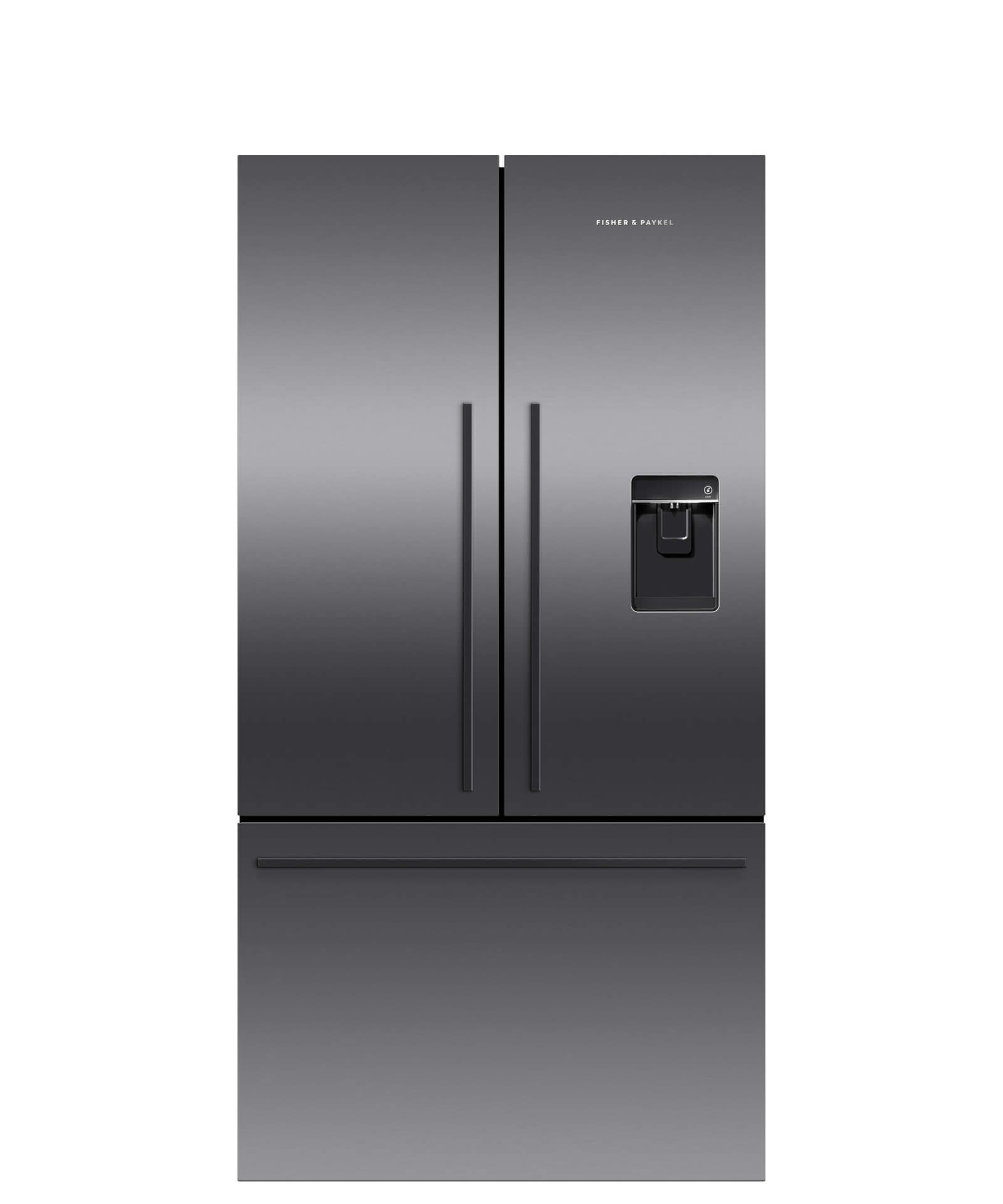 Fisher and Paykel Black Stainless Steel French Door Refrigerator, 20.1 cu ft, Ice & Water