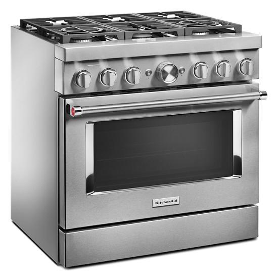Model: KFDC506JSS | KitchenAid KitchenAid® 36'' Smart Commercial-Style Dual Fuel Range with 6 Burners