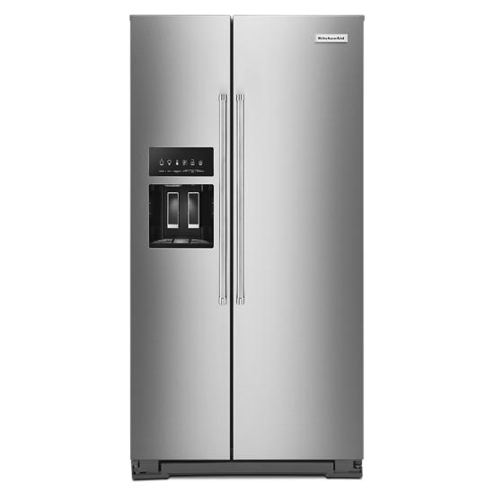 KitchenAid 22.6 cu ft. Counter-Depth Side-by-Side Refrigerator with Exterior Ice and Water and PrintShield™ finish