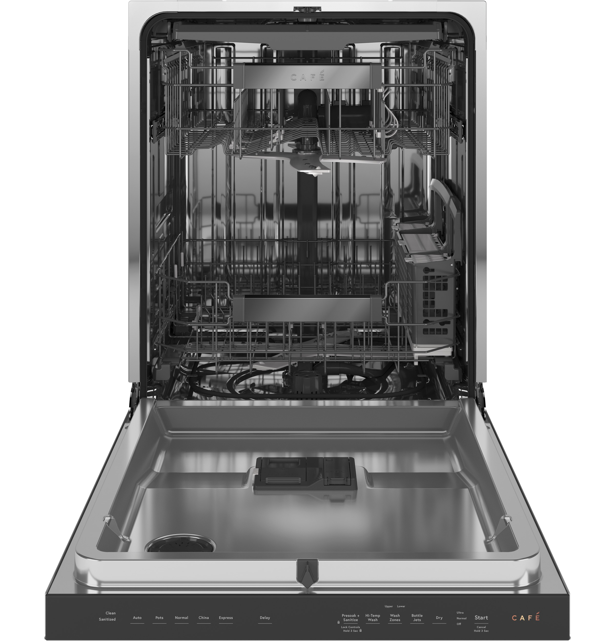 Model: CDT845M5NS5 | Cafe Café™ Stainless Interior Built-In Dishwasher with Hidden Controls in Platinum Glass