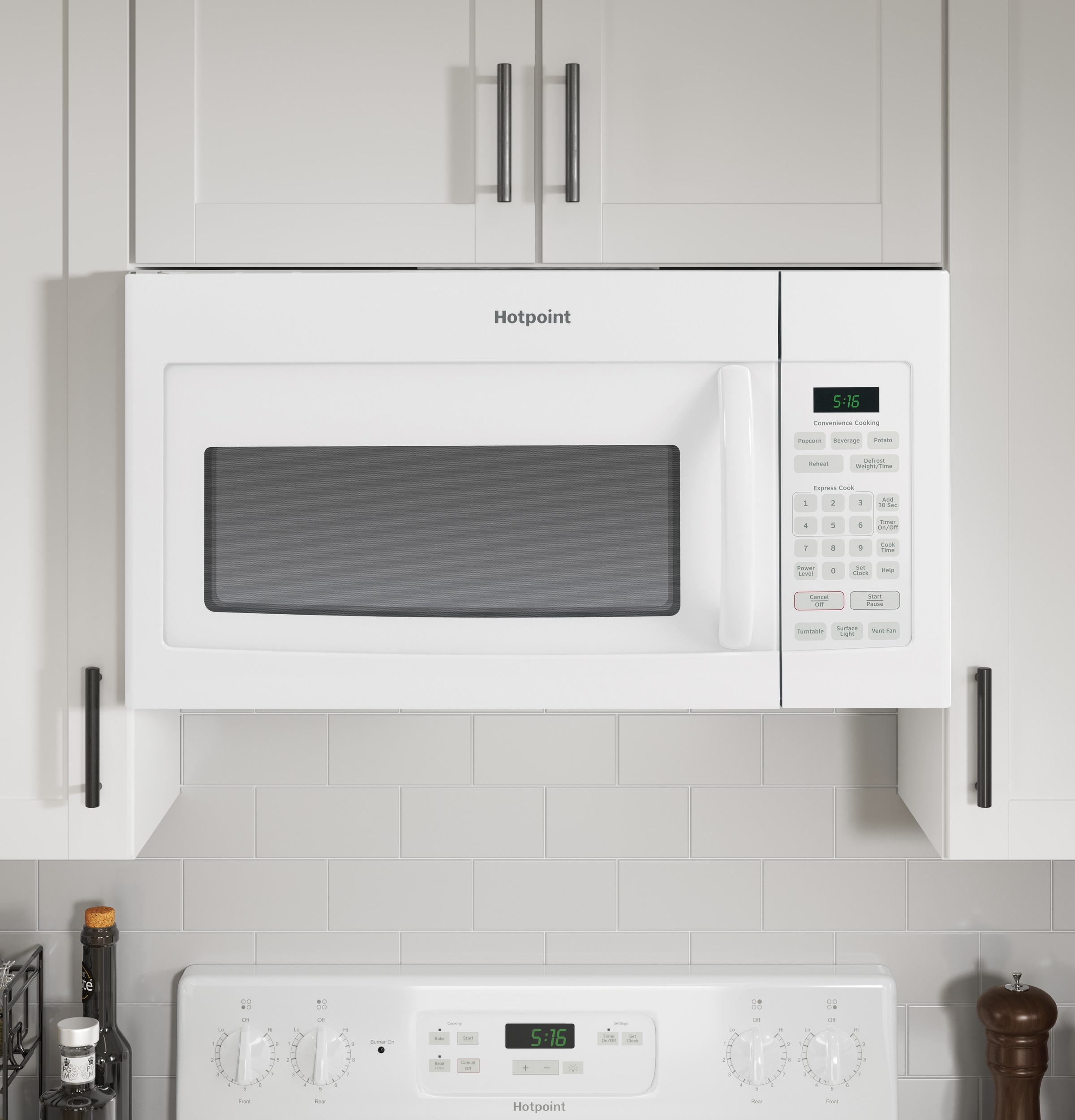 Model: RVM5160DHWW | Hotpoint Hotpoint® 1.6 Cu. Ft. Over-the-Range Microwave Oven