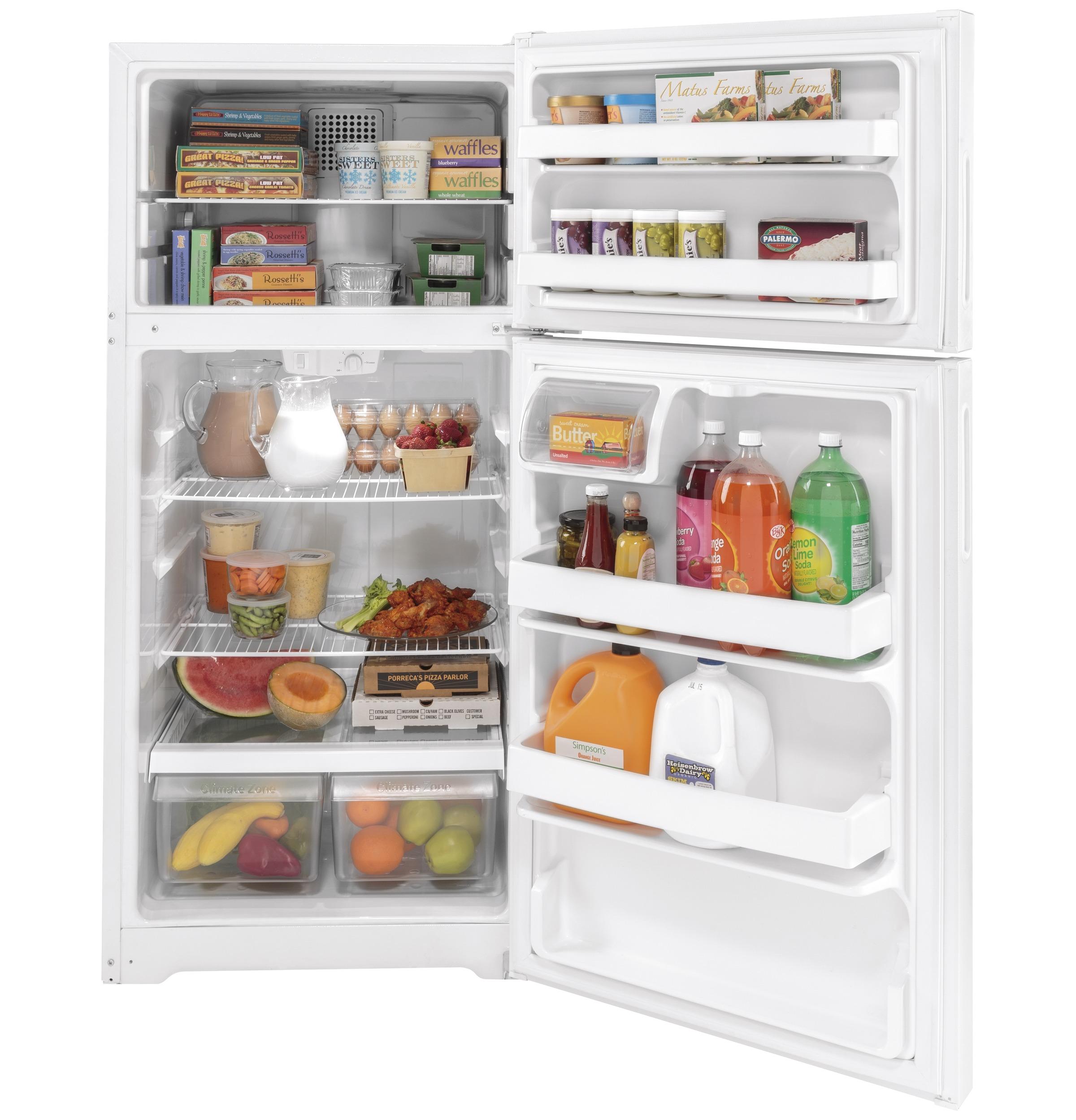 Model: GPE17CTNRWW | GE GE® ENERGY STAR® 16.6 Cu. Ft. Recessed Handle Top-Freezer Refrigerator