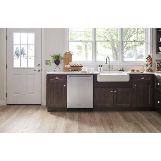Model: KDTM404ESS | KitchenAid 44 dBA Dishwasher with Dynamic Wash Arms