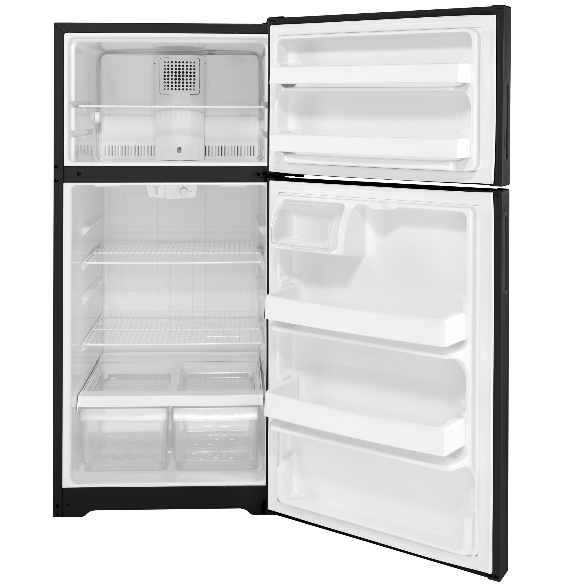 Model: HPS16BTNRBB | Hotpoint Hotpoint® 15.6 Cu. Ft. Recessed Handle Top-Freezer Refrigerator