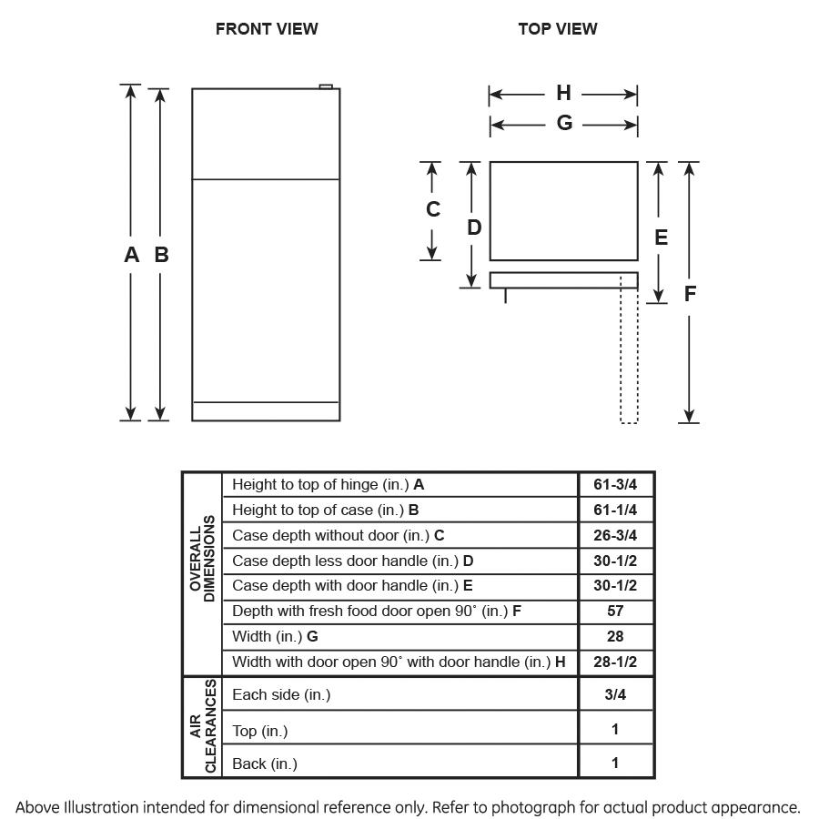 Model: HPE16BTNRWW   Hotpoint Hotpoint® ENERGY STAR® 15.6 Cu. Ft. Recessed Handle Top-Freezer Refrigerator