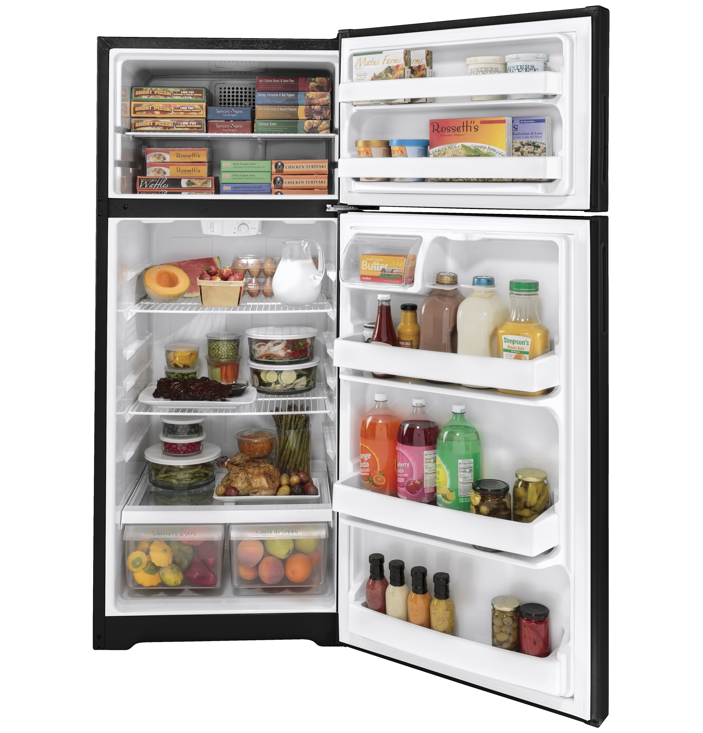 Model: HPS18BTNRBB | Hotpoint Hotpoint® 17.5 Cu. Ft. Recessed Handle Top-Freezer Refrigerator