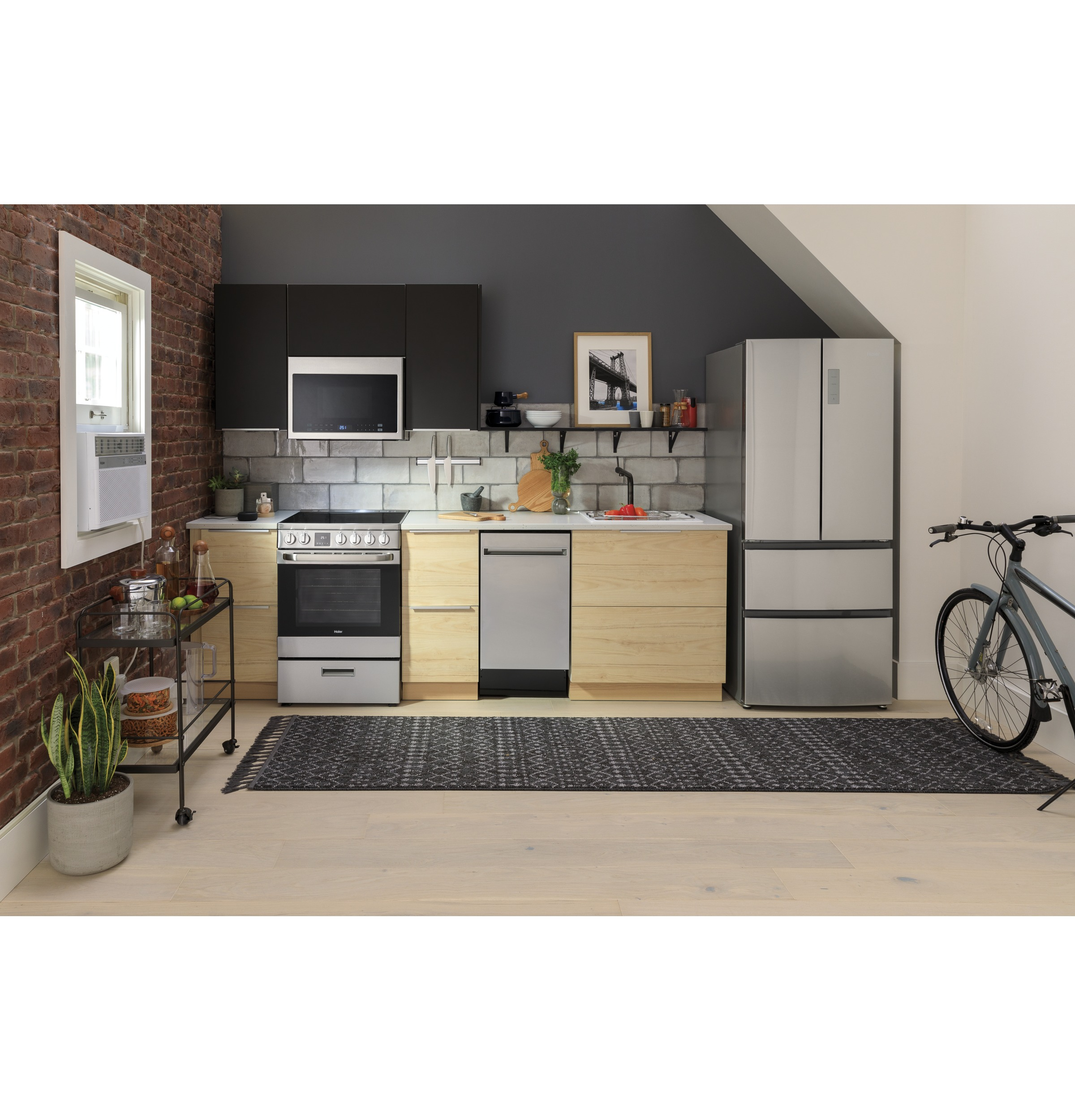 Haier QAS740RMSS 24 Electric Freestanding Range with Convection and Modular Backguard 2.9 cu Oven Capacity Storage Drawer 4 Element in Stainless Steel ft
