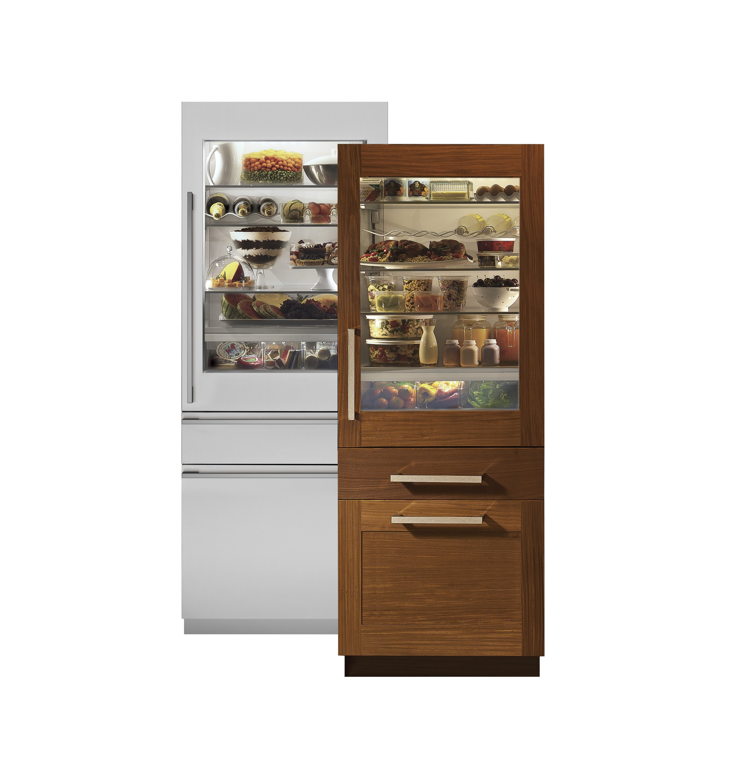 "Monogram Monogram 30"" Integrated Glass-Door Refrigerator for Single or Dual Installation"