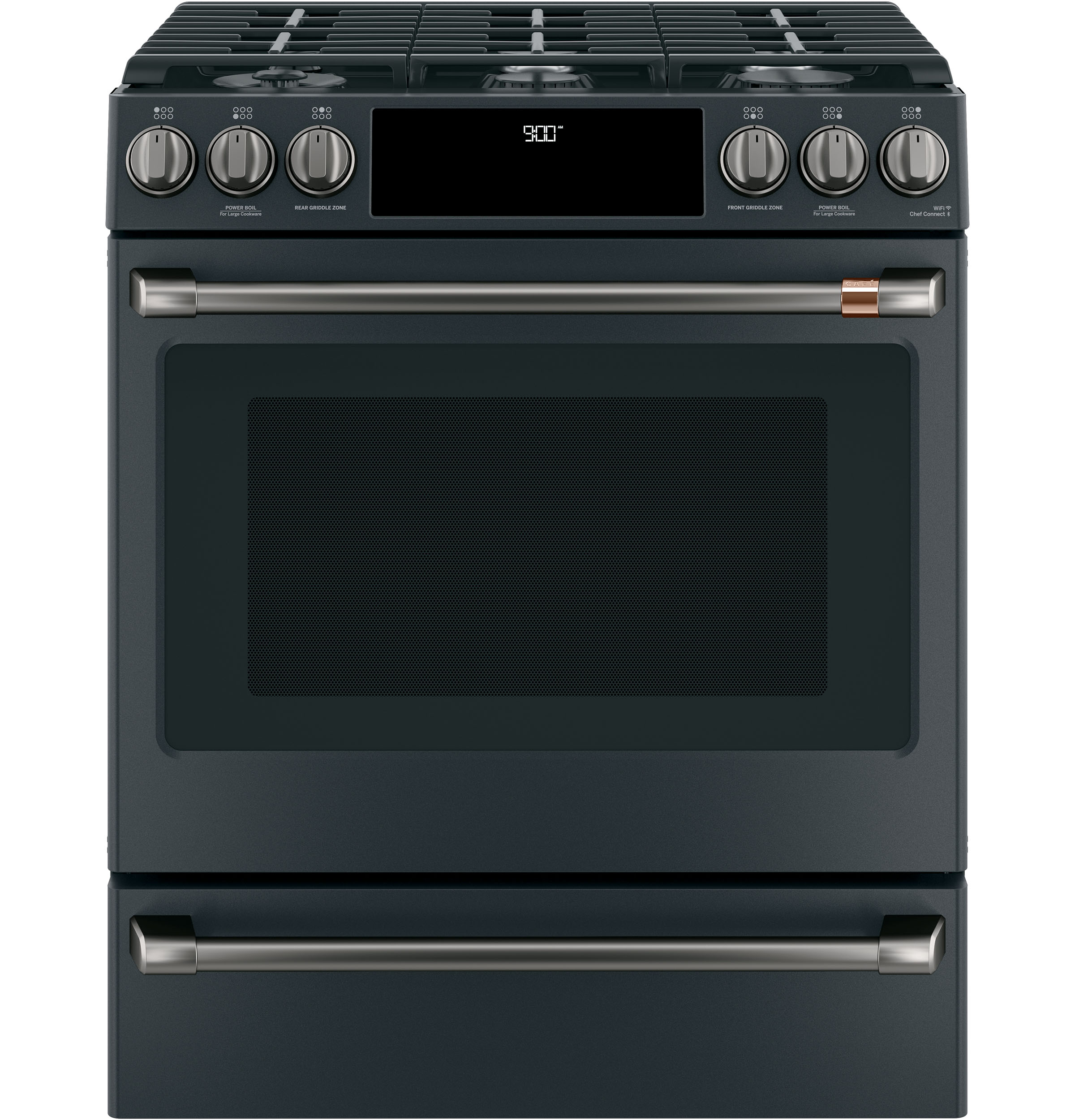 "Model: C2S900P3MD1 | Cafe Café™ 30"" Smart Slide-In, Front-Control, Dual-Fuel Range with Warming Drawer"