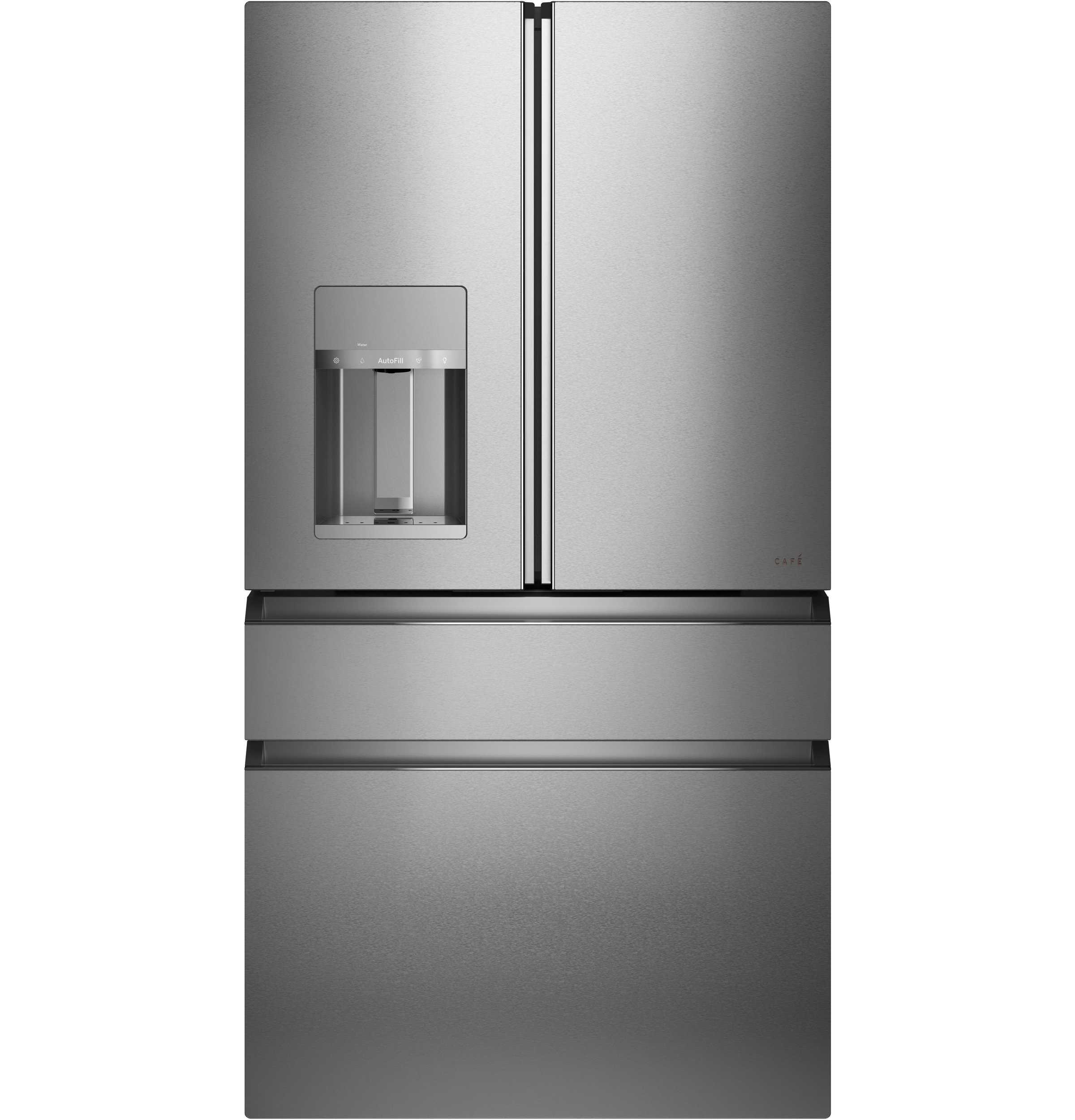 Cafe Café™ ENERGY STAR® 27.8 Cu. Ft. Smart 4-Door French-Door Refrigerator in Platinum Glass