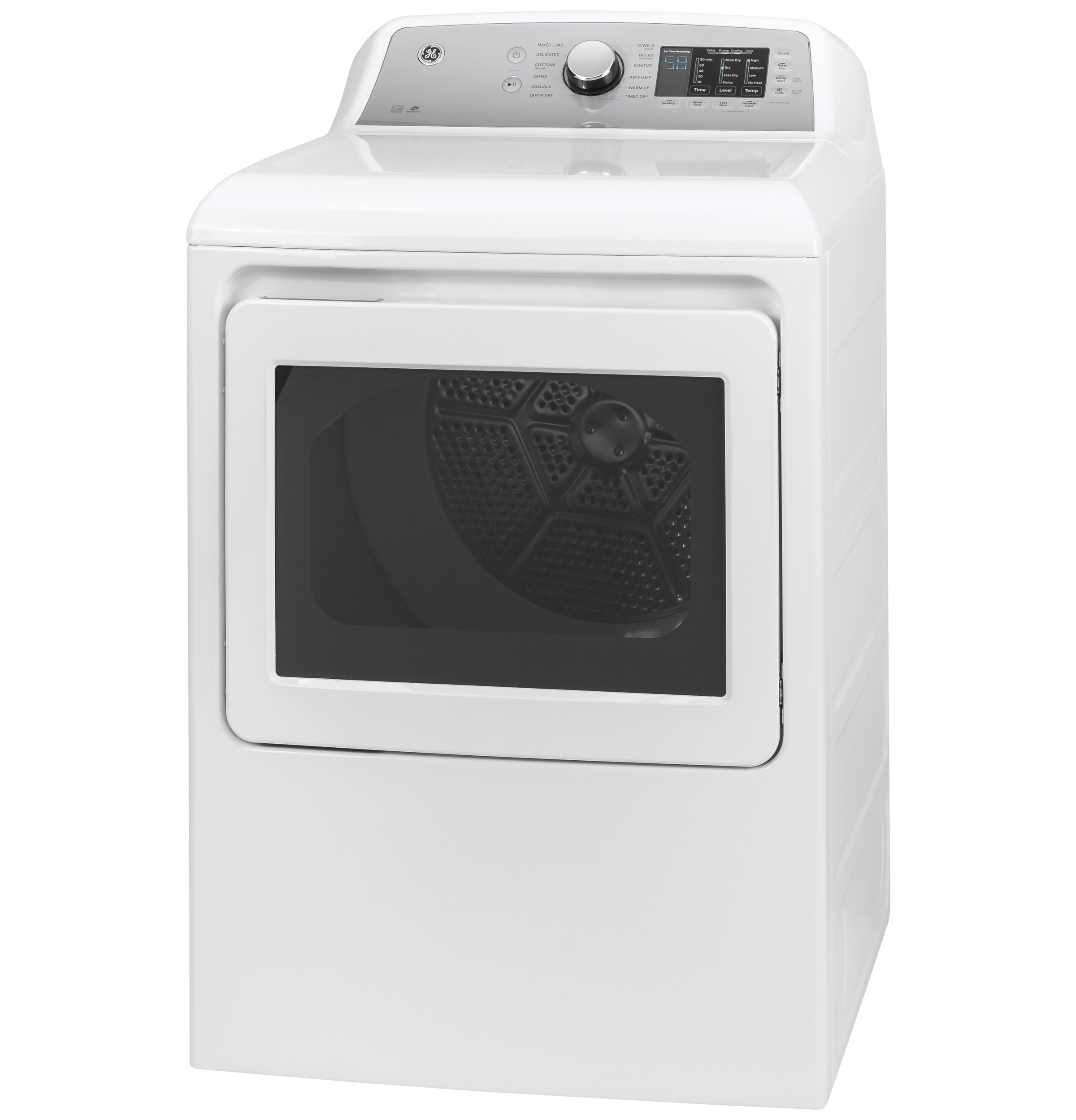 Model: GTD72EBSNWS | GE GE® 7.4 cu. ft. Capacity aluminized alloy drum Electric Dryer with Sanitize Cycle and HE Sensor Dry