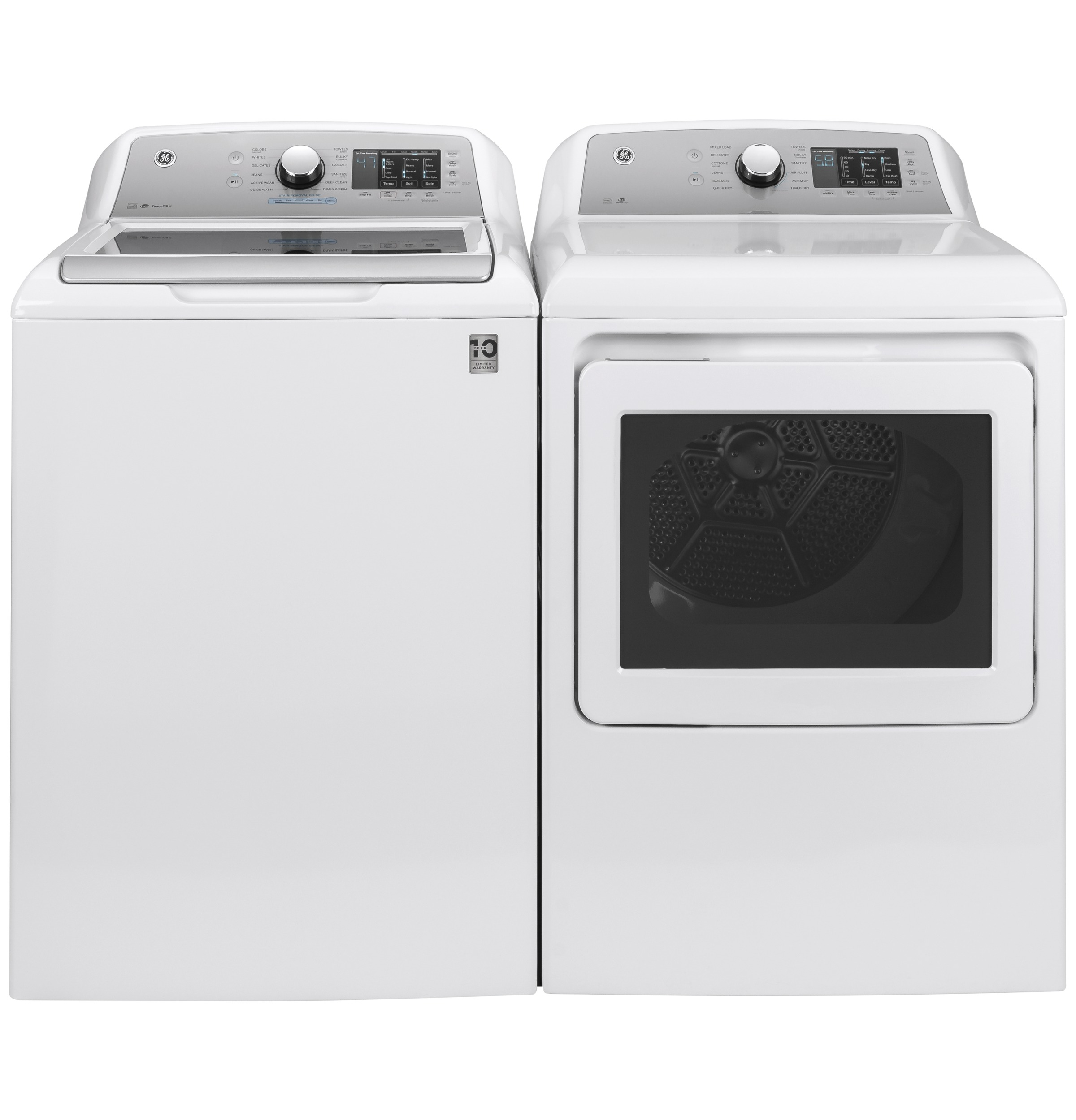 Model: GTD72EBSNWS | GE GE® 7.4 cu. ft. Capacity aluminized alloy drum Electric Dryer with Sanitize Cycle and Sensor Dry