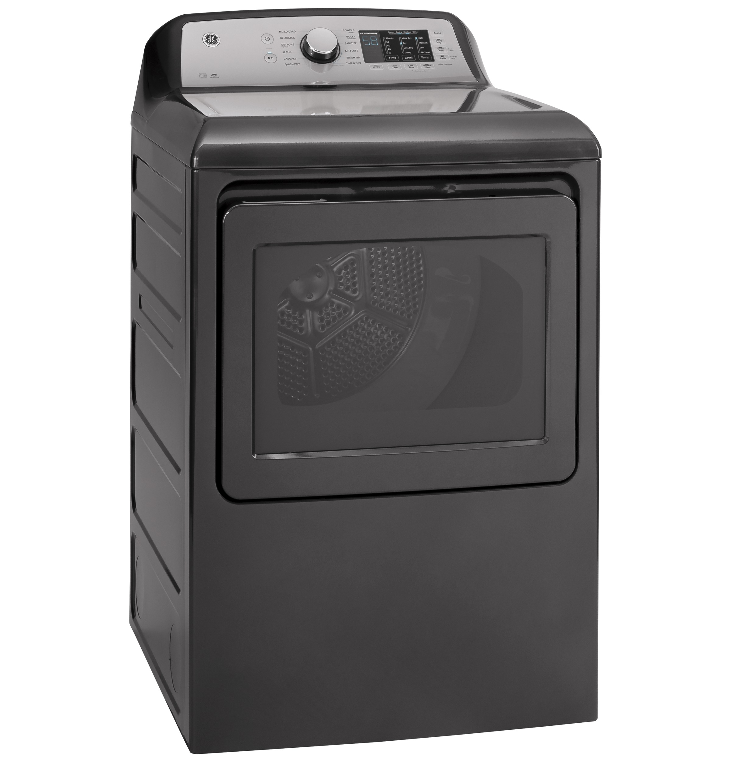 Model: GTD72EBPNDG | GE GE® 7.4 cu. ft. Capacity aluminized alloy drum Electric Dryer with HE Sensor Dry