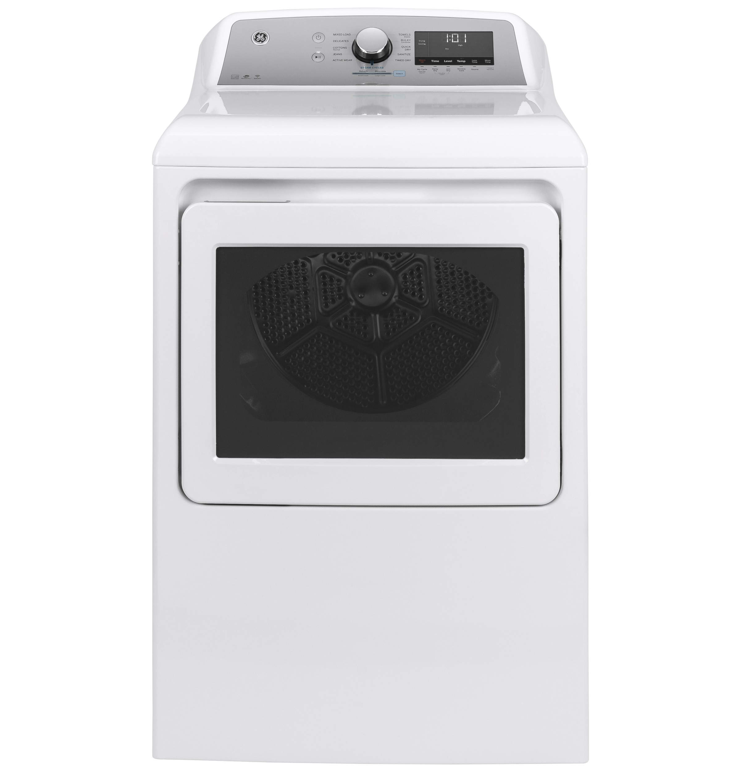 GE GE® 7.4 cu. ft. Capacity Smart aluminized alloy drum Electric Dryer with Sanitize Cycle and HE Sensor Dry