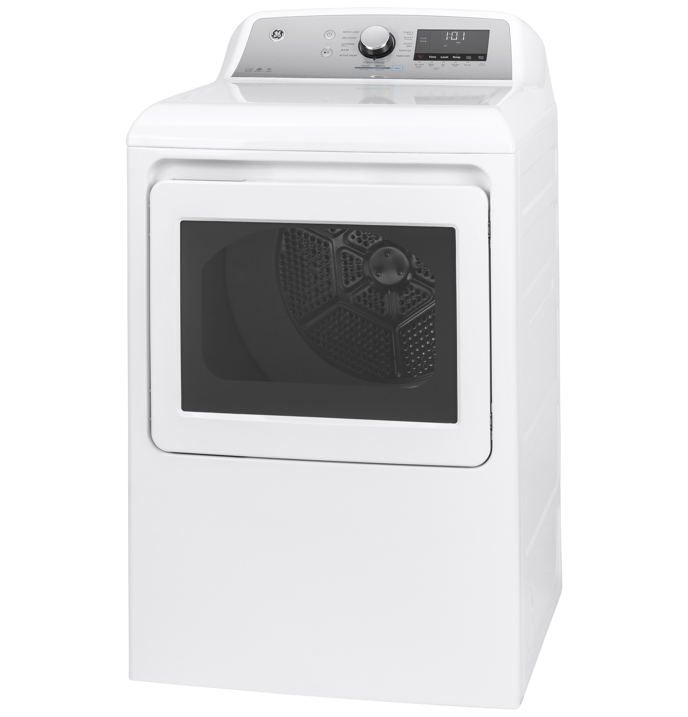 Model: GTD84ECSNWS | GE GE® 7.4 cu. ft. Capacity Smart aluminized alloy drum Electric Dryer with HE Sensor Dry