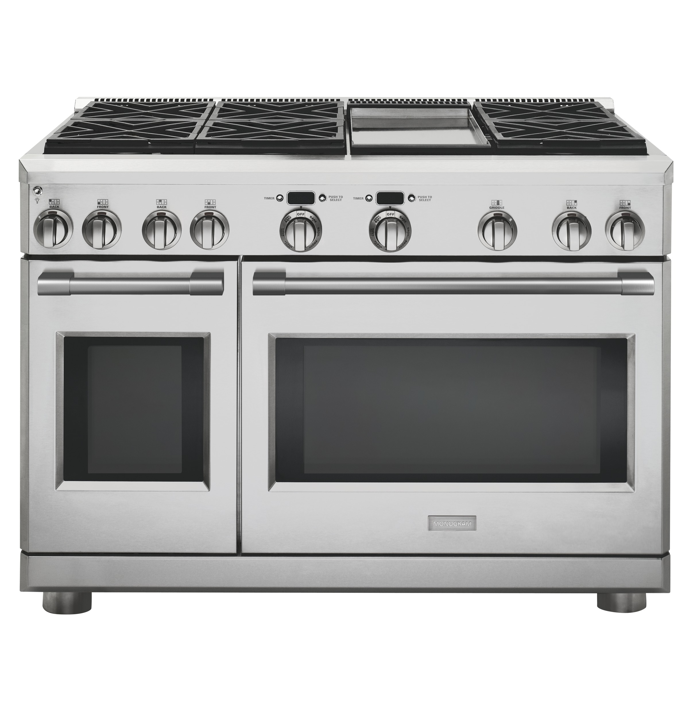 "Model: ZDP486NDNSS | Monogram Monogram 48"" Dual-Fuel Professional Range with 6 Burners and Griddle (Natural Gas)"