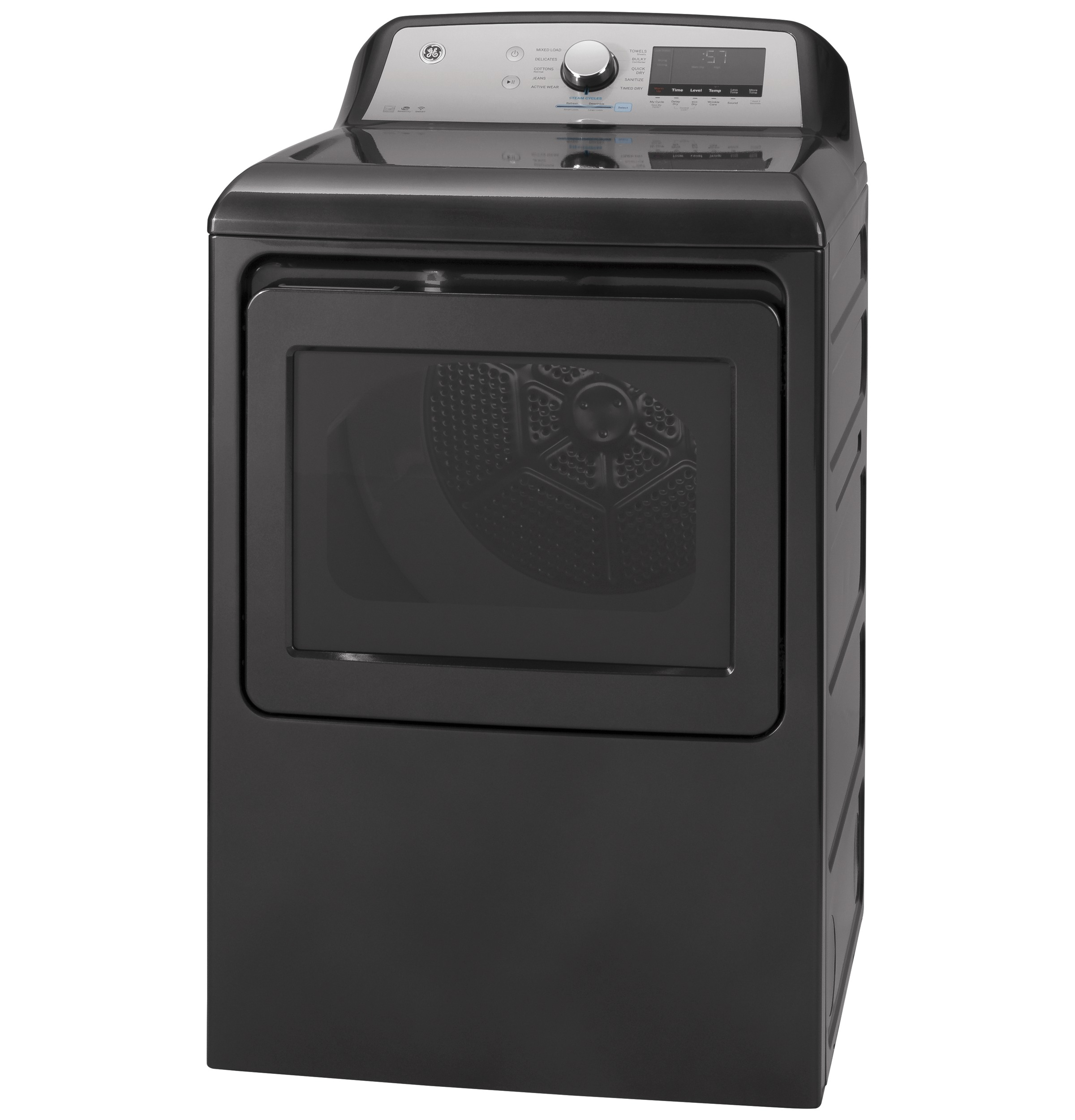 Model: GTD84ECPNDG | GE GE® 7.4 cu. ft. Capacity Smart aluminized alloy drum Electric Dryer with Sanitize Cycle and HE Sensor Dry