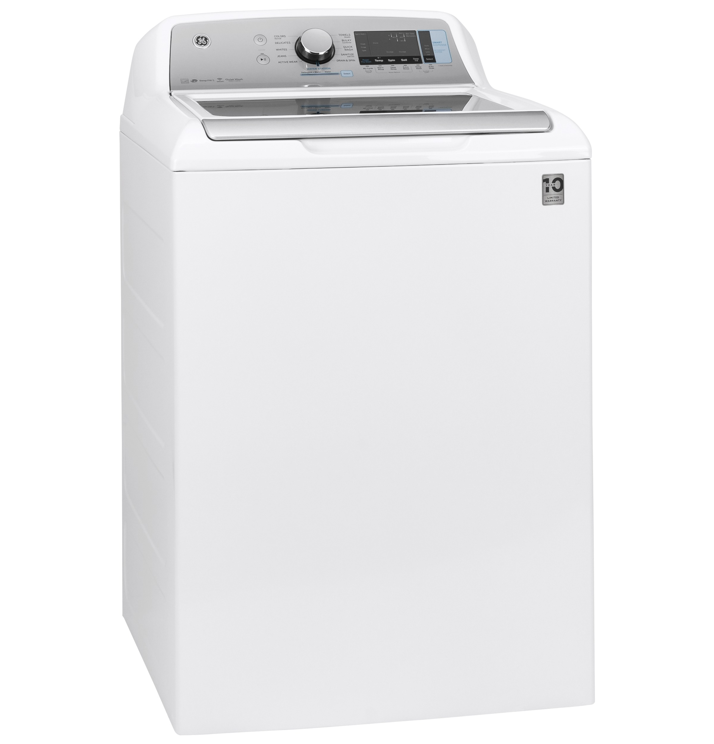 Model: GTW845CSNWS | GE GE® 5.0  cu. ft. Capacity Smart Washer with Sanitize w/Oxi and SmartDispense