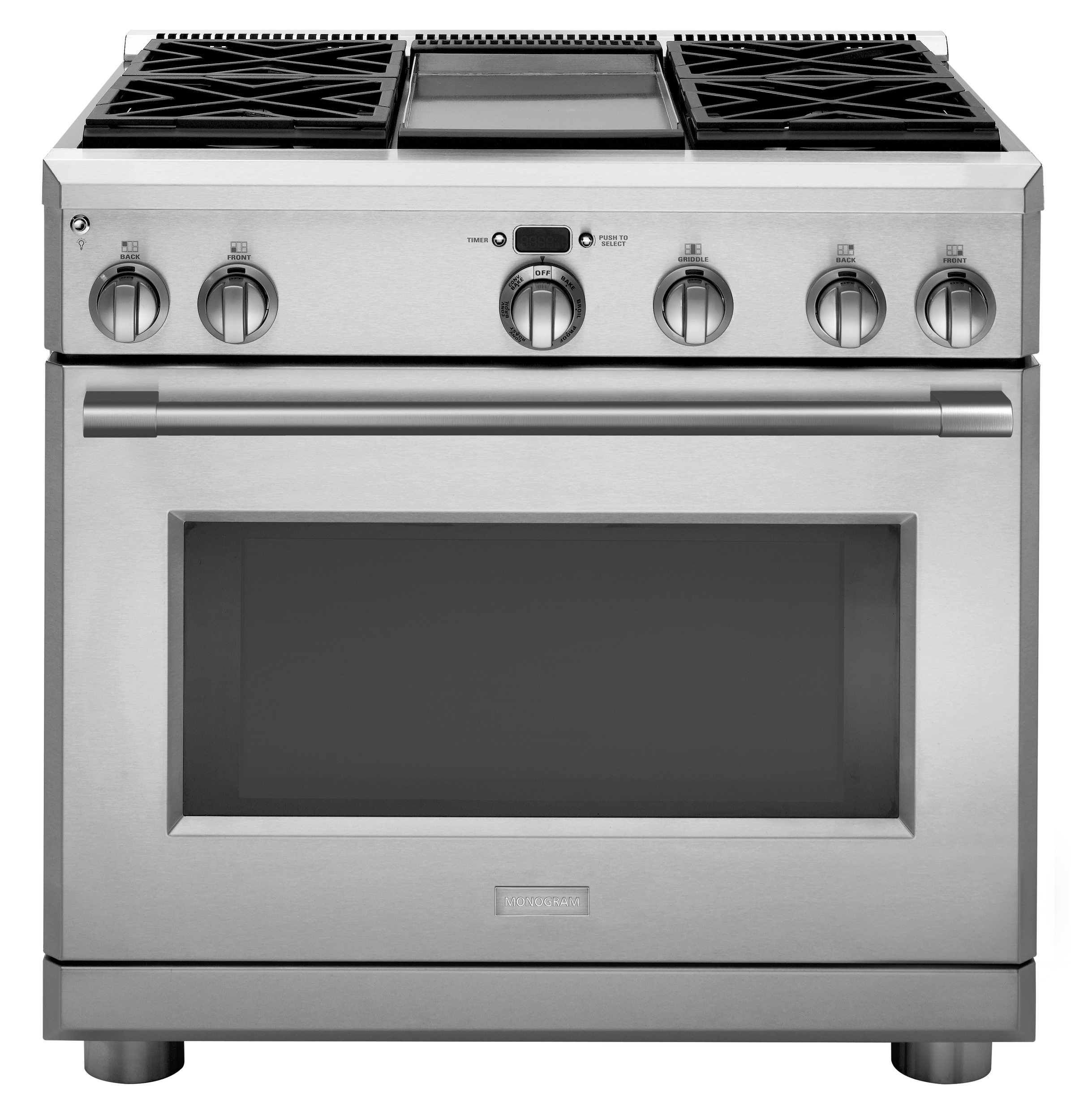 "Monogram Monogram 36"" All Gas Professional Range with 4 Burners and Griddle (Liquid Propane)"