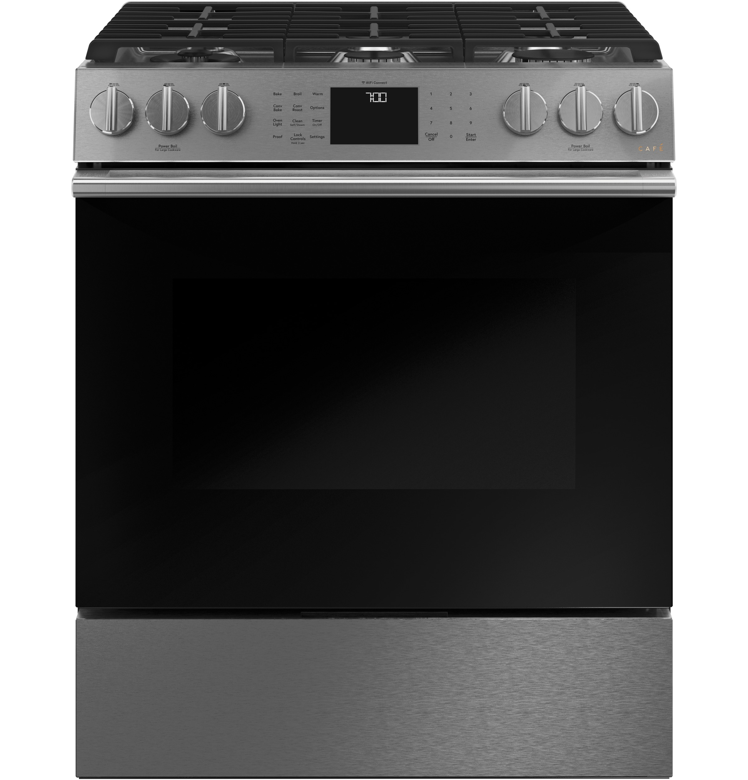 "Cafe Café™ 30"" Smart Slide-In, Front-Control, Gas Range with Convection Oven in Platinum Glass"
