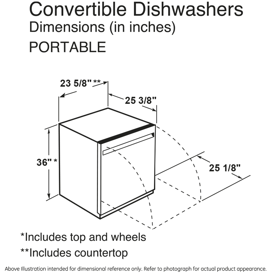 "Model: GPT225SSLSS | GE GE® 24"" Portable Dishwasher"