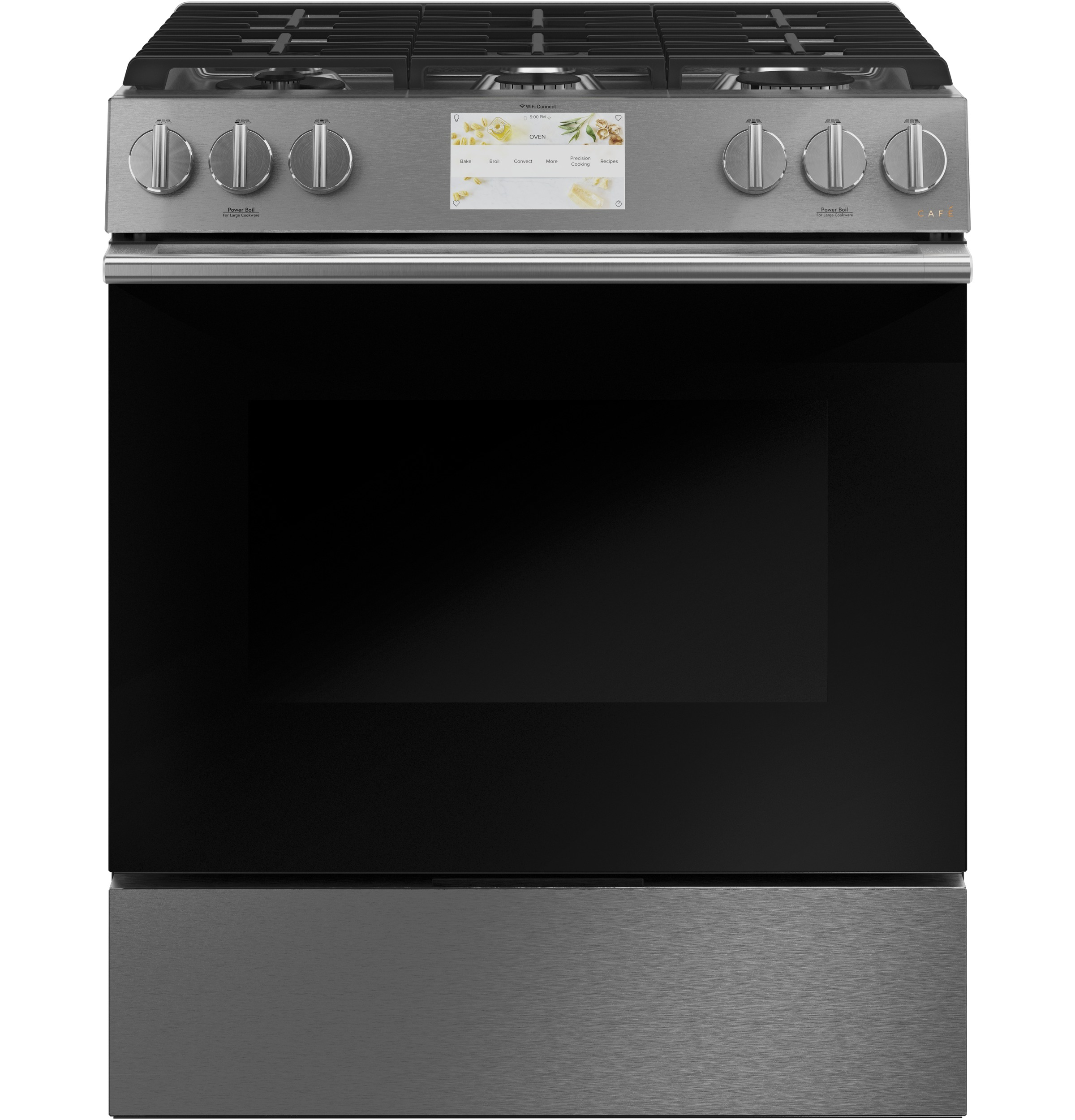 "Cafe Café™ 30"" Smart Slide-In, Front-Control, Dual-Fuel Range in Platinum Glass"