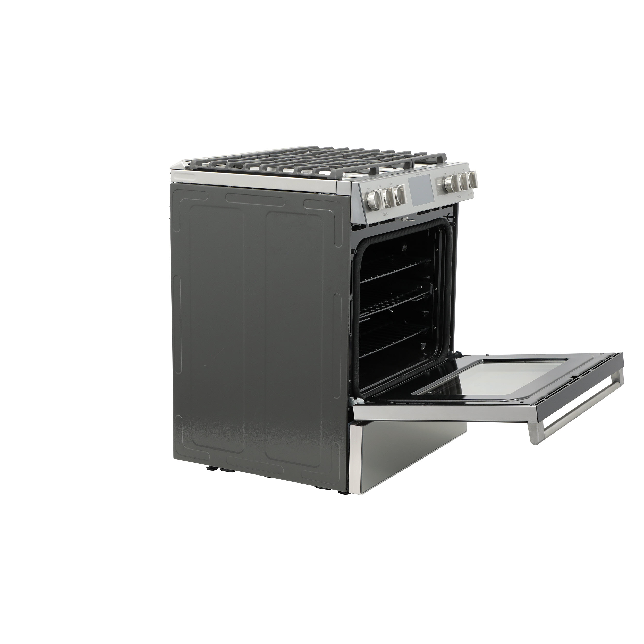 "Model: C2S900M2NS5 | Cafe Café™ 30"" Smart Slide-In, Front-Control, Dual-Fuel Range in Platinum Glass"