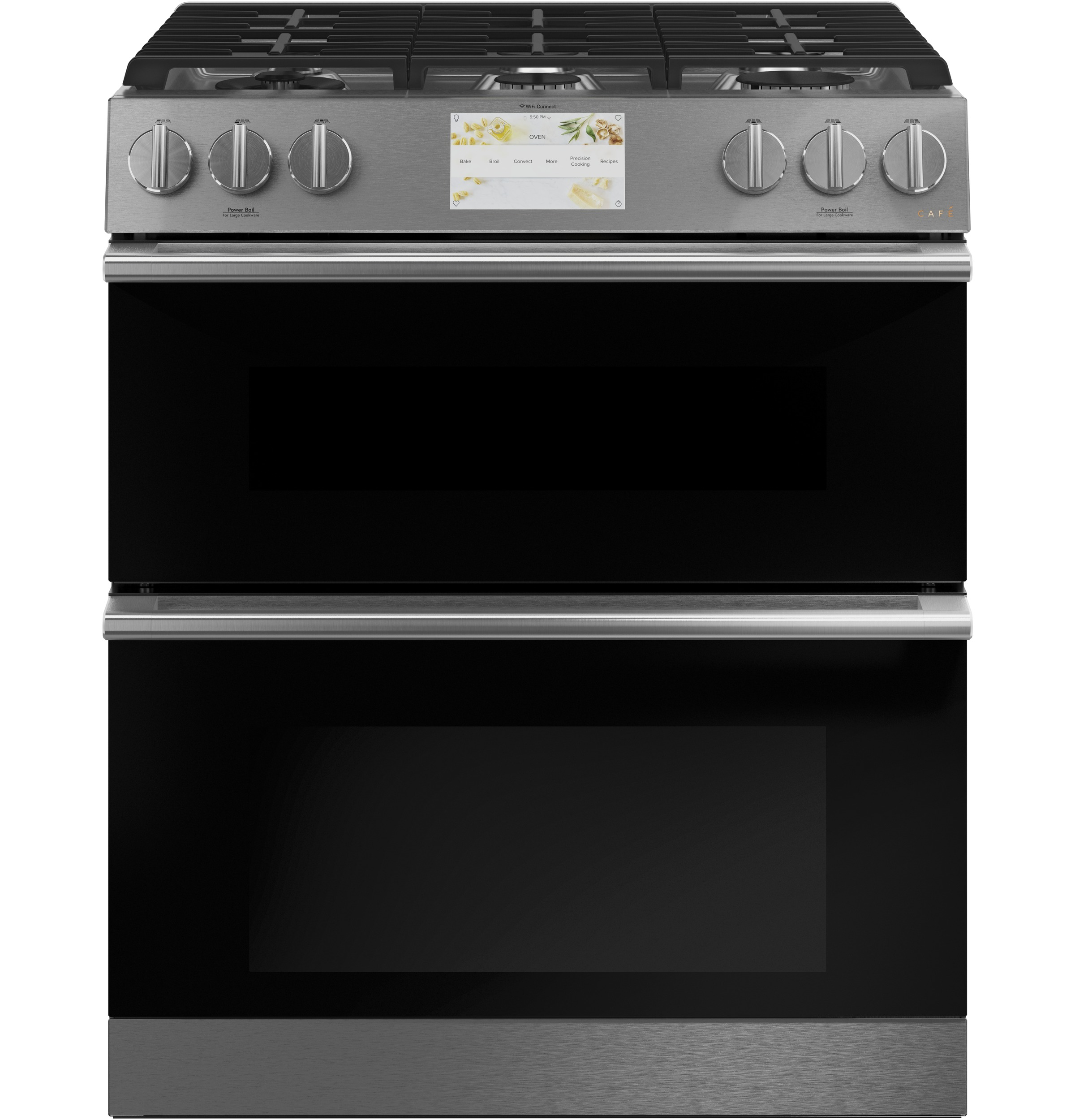"Cafe Café™ 30"" Smart Slide-In, Front-Control, Dual-Fuel, Double-Oven Range with Convection in Platinum Glass"