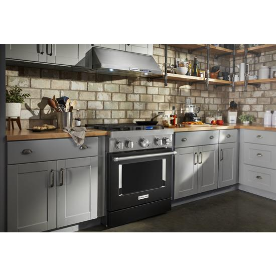 Model: KFGC500JBK | KitchenAid KitchenAid® 30'' Smart Commercial-Style Gas Range with 4 Burners