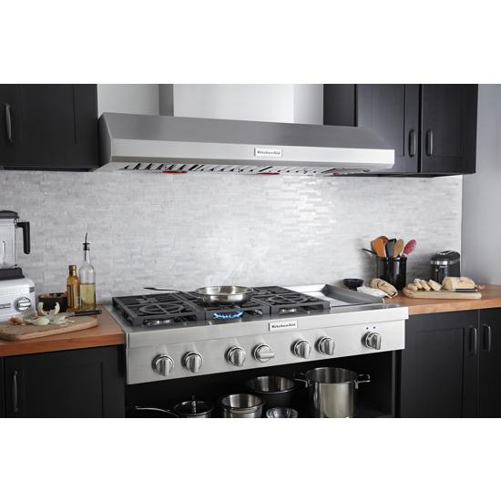 Model: KVWC958JSS   KitchenAid 48'' 585 or 1170 CFM Motor Class Commercial-Style Wall-Mount Canopy Range Hood