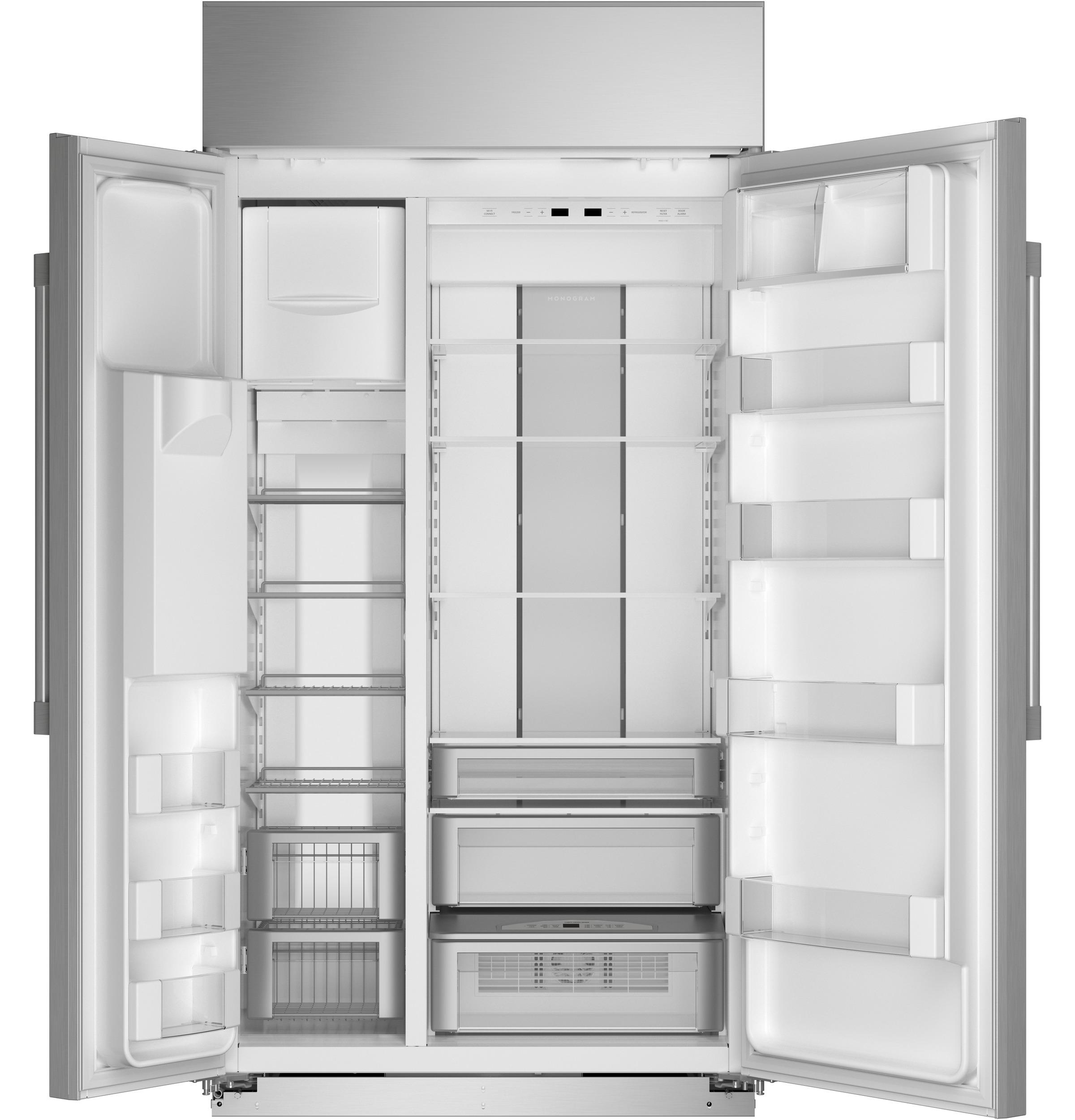 "Model: ZISS420DNSS | Monogram Monogram 42"" Smart Built-In Side-by-Side Refrigerator with Dispenser"