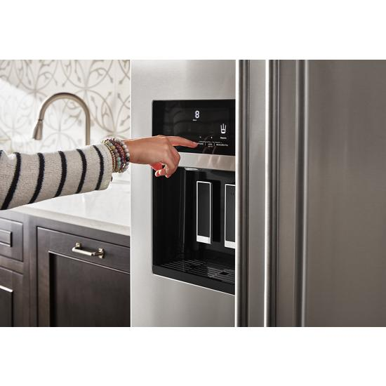 Model: KRSC700HPS   KitchenAid 19.9 cu ft. Counter-Depth Side-by-Side Refrigerator with Exterior Ice and Water and PrintShield™ finish