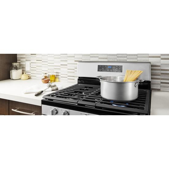 Model: WFG525S0JS | Whirlpool 5.0 cu. ft. Whirlpool® gas range with center oval burner