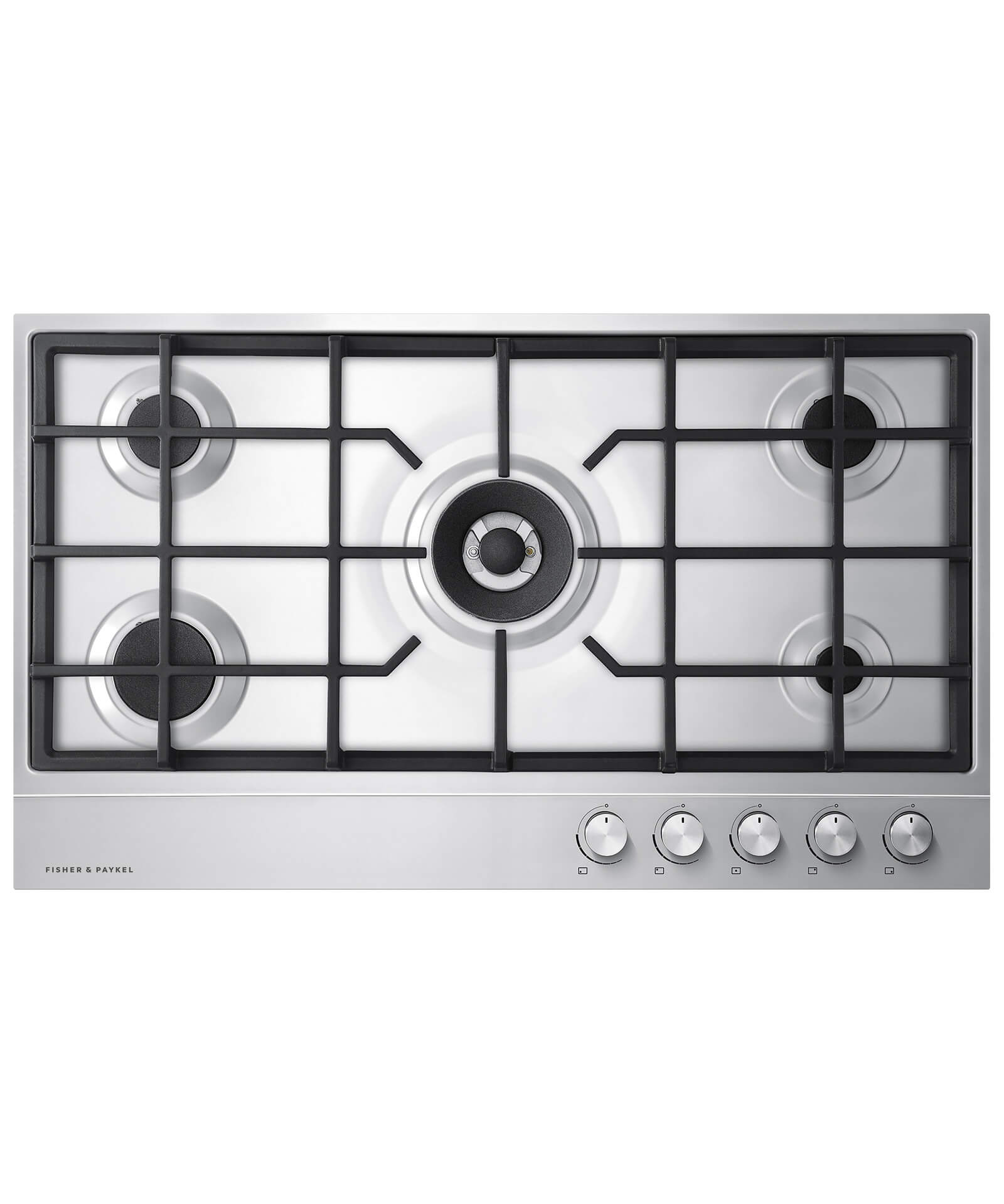 """Fisher and Paykel NG Gas on Steel Cooktop 36"""" 5 Burner"""