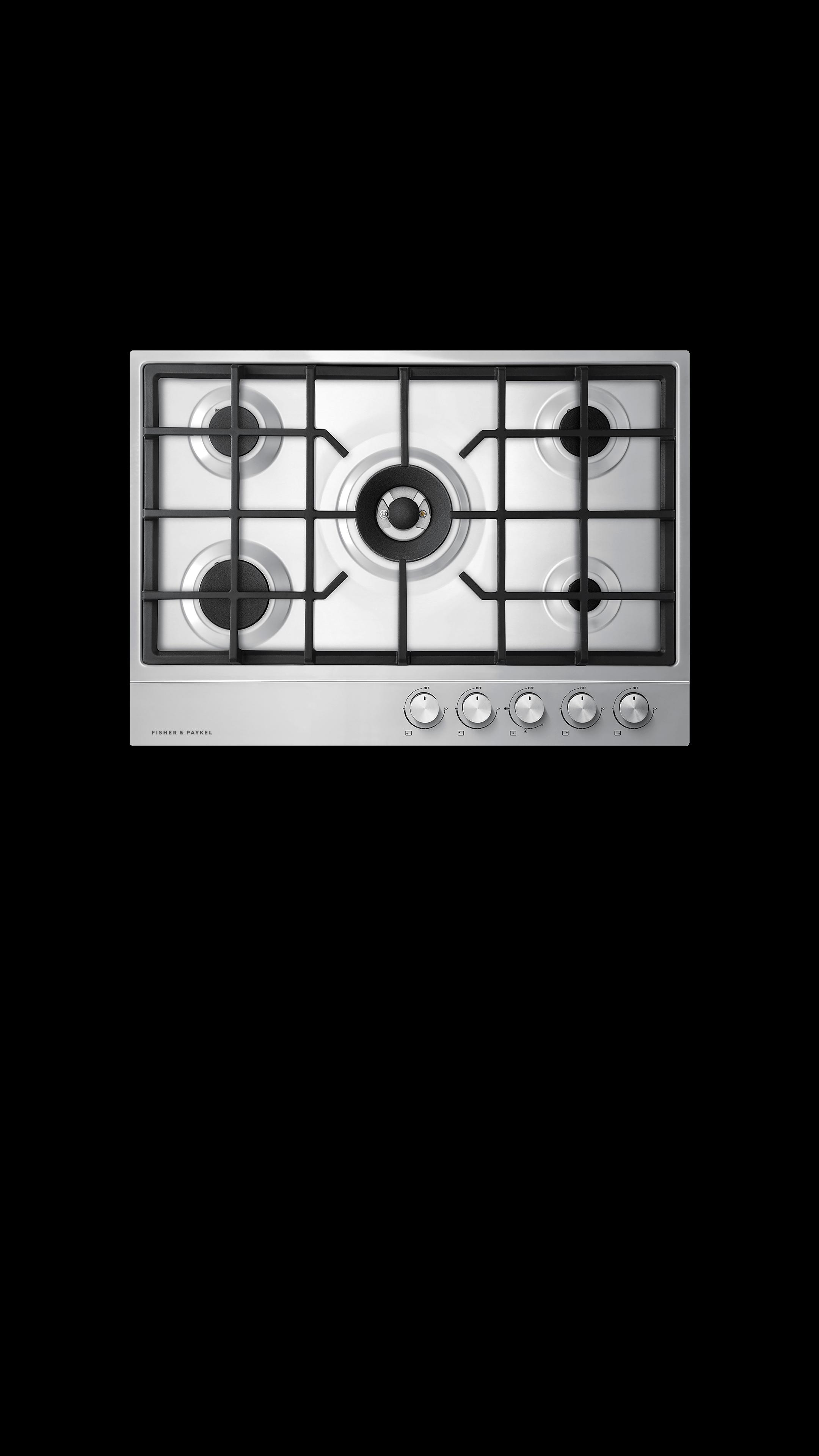 "Model: CG305DNGX1_N | Fisher and Paykel Gas on Steel Cooktop, 30"" 5 Burner"