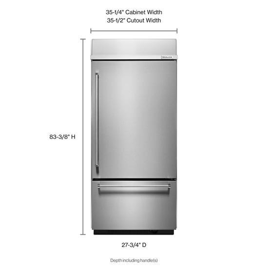 "Model: KBBR306ESS | KitchenAid 20.9 Cu. Ft. 36"" Width Built-In Stainless Bottom Mount Refrigerator with Platinum Interior Design"