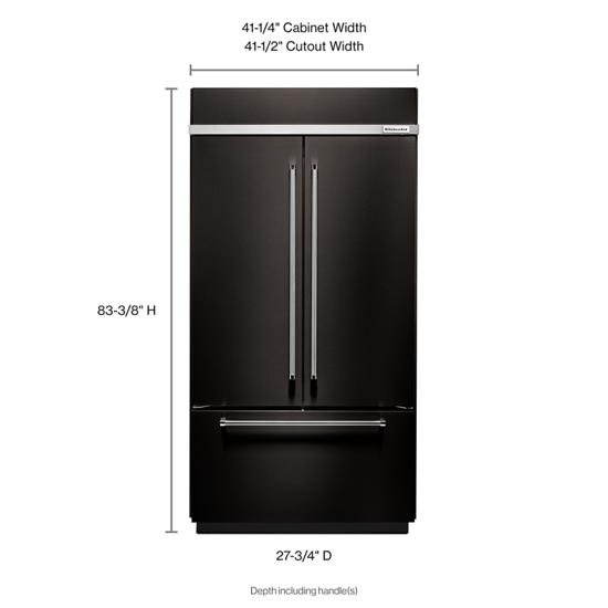 "Model: KBFN502EBS | KitchenAid 24.2 Cu. Ft. 42"" Width Built-In Stainless French Door Refrigerator with Platinum Interior Design"