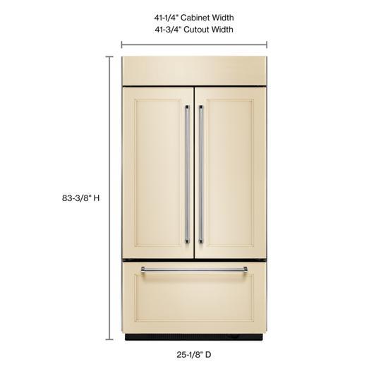 "KitchenAid 24.2 Cu. Ft. 42"" Width Built-In Panel Ready French Door Refrigerator with Platinum Interior Design"