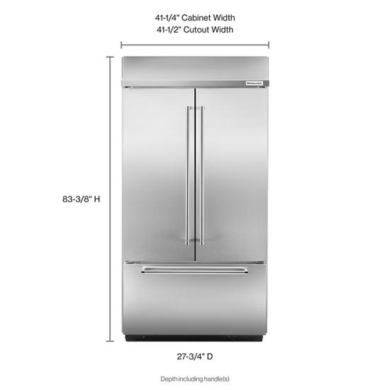"Model: KBFN502ESS | KitchenAid 24.2 Cu. Ft. 42"" Width Built-In Stainless French Door Refrigerator with Platinum Interior Design"