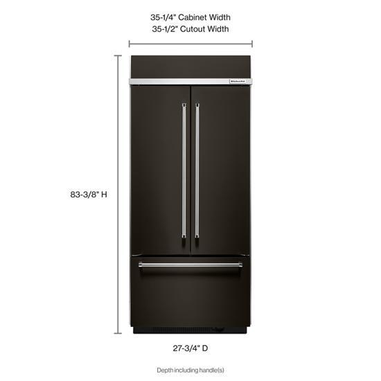 "KitchenAid 20.8 Cu. Ft. 36"" Width Built In Stainless Steel French Door Refrigerator with Platinum Interior Design"