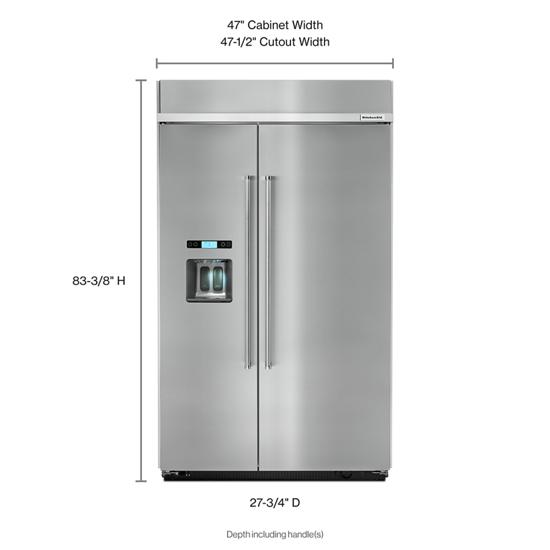 Model: KBSD608ESS | KitchenAid 29.5 cu. ft 48-Inch Width Built-In Side by Side Refrigerator with PrintShield™ Finish