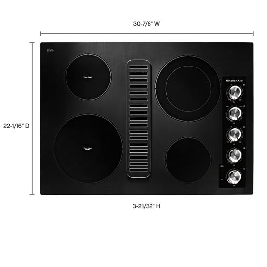 "Model: KCED600GBL | KitchenAid 30"" Electric Downdraft Cooktop with 4 Elements"
