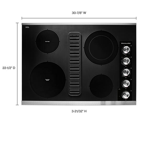 "KitchenAid 30"" Electric Downdraft Cooktop with 4 Elements"