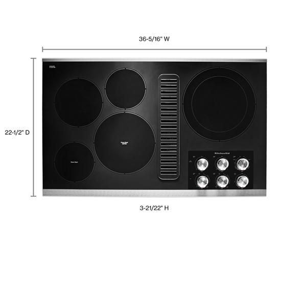 "KitchenAid 36"" Electric Downdraft Cooktop with 5 Elements"