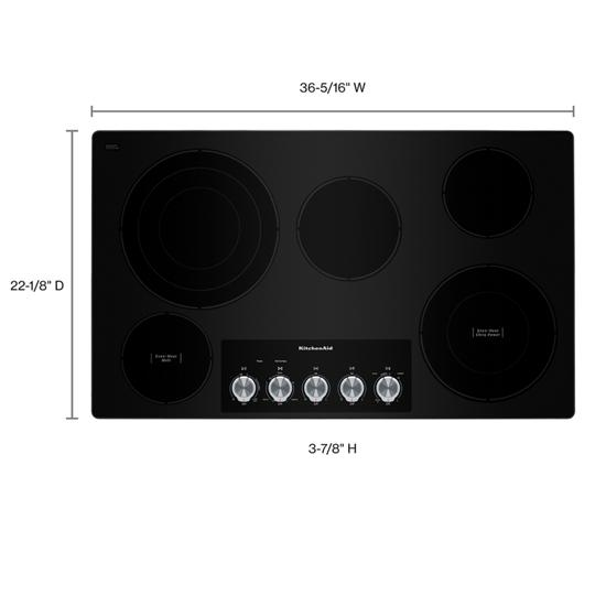 "Model: KCES556HSS | KitchenAid 36"" Electric Cooktop with 5 Elements and Knob Controls"